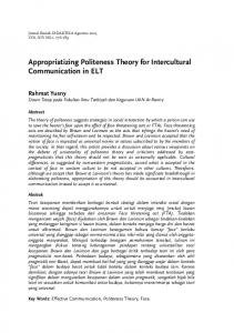 Appropriatizing Politeness Theory for Intercultural Communication in