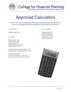 Approved Calculators