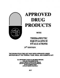 Approved Drug Products with Therapeutic Equivalence Evaluations ...