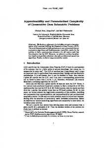 Approximability and Parameterized Complexity of Consecutive Ones ...