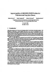 Approximability of GROUND STATE Problem for ... - Semantic Scholar