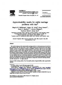 Approximability results for stable marriage ... - Semantic Scholar