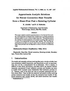 Approximate Analytic Solutions for Forced Convection Heat Transfer ...
