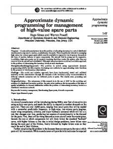 Approximate dynamic programming for ... - Semantic Scholar