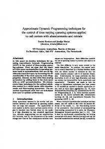 Approximate Dynamic Programming techniques for the ... - CiteSeerX
