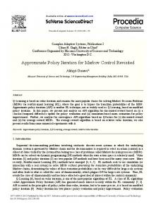 Approximate Policy Iteration for Markov Control ... - CyberLeninka