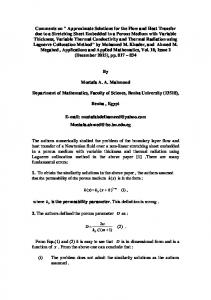 Approximate Solutions for the Flow and Heat Transfer ...