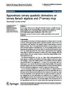 Approximate ternary quadratic derivations on ternary Banach ... - Core