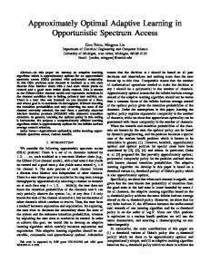 Approximately Optimal Adaptive Learning in ... - EECS @ Michigan