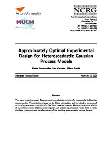 Approximately Optimal Experimental Design for ... - MUCM