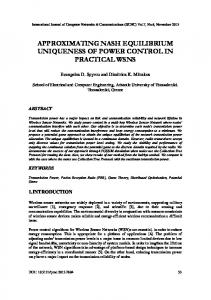 Approximating Nash Equilibrium Uniqueness of ... - AIRCC Online