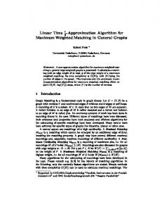 Approximation Algorithm for Maximum Weighted Matching ... - CiteSeerX