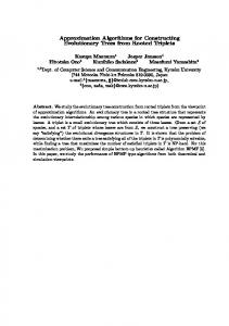 Approximation Algorithms for Constructing Evolutionary Trees from ...
