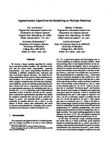 Approximation Algorithms for Scheduling on Multiple Machines