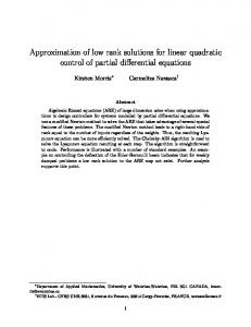Approximation of low rank solutions for linear quadratic control of