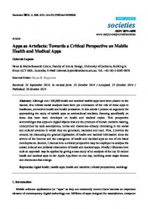 Apps as Artefacts: Towards a Critical Perspective on Mobile Health ...