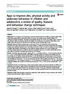 Apps to improve diet, physical activity and sedentary ... - Springer Link