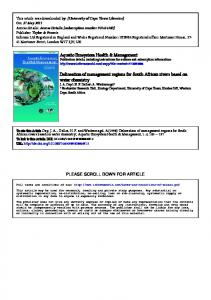 Aquatic Ecosystem Health & Management ...