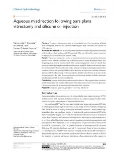 aqueous misdirection following pars plana ... - Semantic Scholar