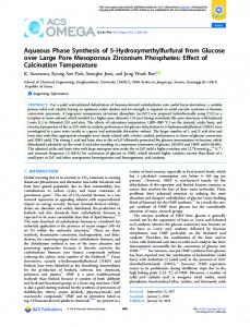 Aqueous Phase Synthesis of 5 ... - ACS Publications