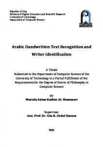 Arabic Handwritten Text Recognition and Writer