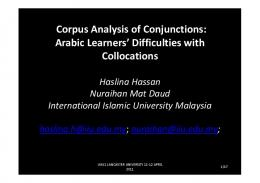 Arabic Learners' Difficulties with Collocations - ucrel - Lancaster