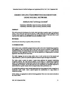 arabic online handwriting recognition using ... - Aircc Digital Library