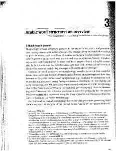 Arabic word structure: an overview - Middlebury