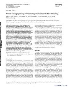 Arabin cerclage pessary in the management of cervical insufficiency