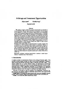 Arbitrage and Investment Opportunities - SSRN papers