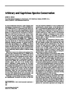 Arbitrary and Capricious Species Conservation