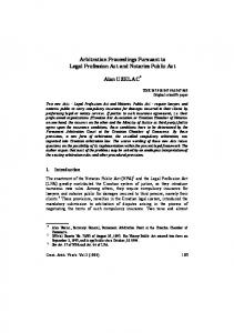 Arbitration Proceedings Pursuant to Legal Profession Act and Notaries ...