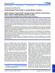 Archaeological bone lipids as palaeodietary ... - Wiley Online Library