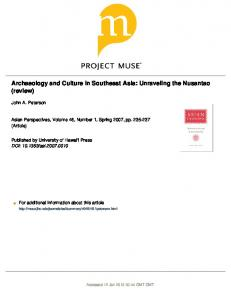 Archaeology and Culture in Southeast Asia ...