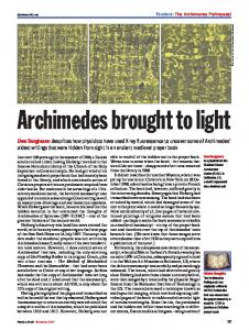 Archimedes brought to light - the Archimedes Palimpsest