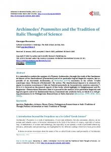 Archimedes' Psammites and the Tradition of Italic Thought of Science