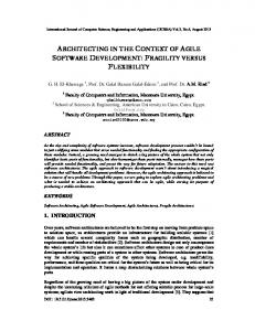 architecting in the context of agile software development - AIRCC ...