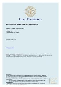 ARCHITECTURAL OBJECTS AND SYSTEMS ... - LU Research Portal