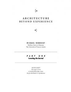 ARCHITECTURE BEYOND EXPERIENCE (Part One)