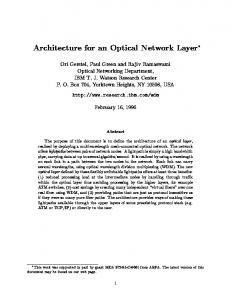 Architecture for an Optical Network Layer - CiteSeerX