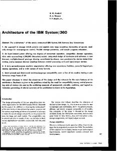 Architecture of the IBM System / 360 - ECE UC Davis
