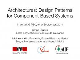 Architectures: Design Patterns for Component-Based Systems