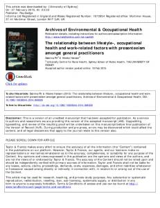 Archives of Environmental & Occupational Health The ...
