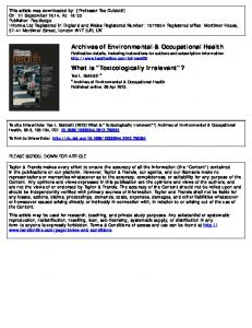 Archives of Environmental & Occupational Health What is