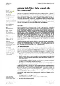 Archiving South African digital research data - South African Journal of ...