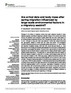 Are arrival date and body mass after spring ... - Semantic Scholar