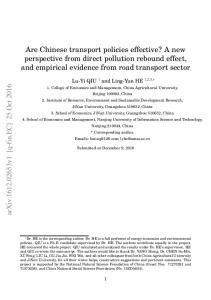 Are Chinese transport policies effective? A new perspective from direct ...