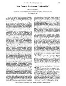 Are Crystal Structures Predictable? - ACS Publications - American
