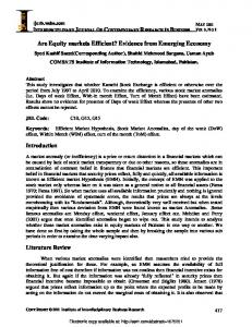 Are Equity markets Efficient? Evidence from Emerging ... - SSRN papers