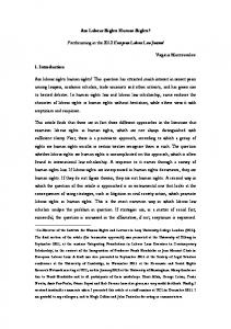 Are Labour Rights Human Rights? Forthcoming in the 2012 European ...